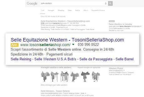 Un annuncio Google AdWords