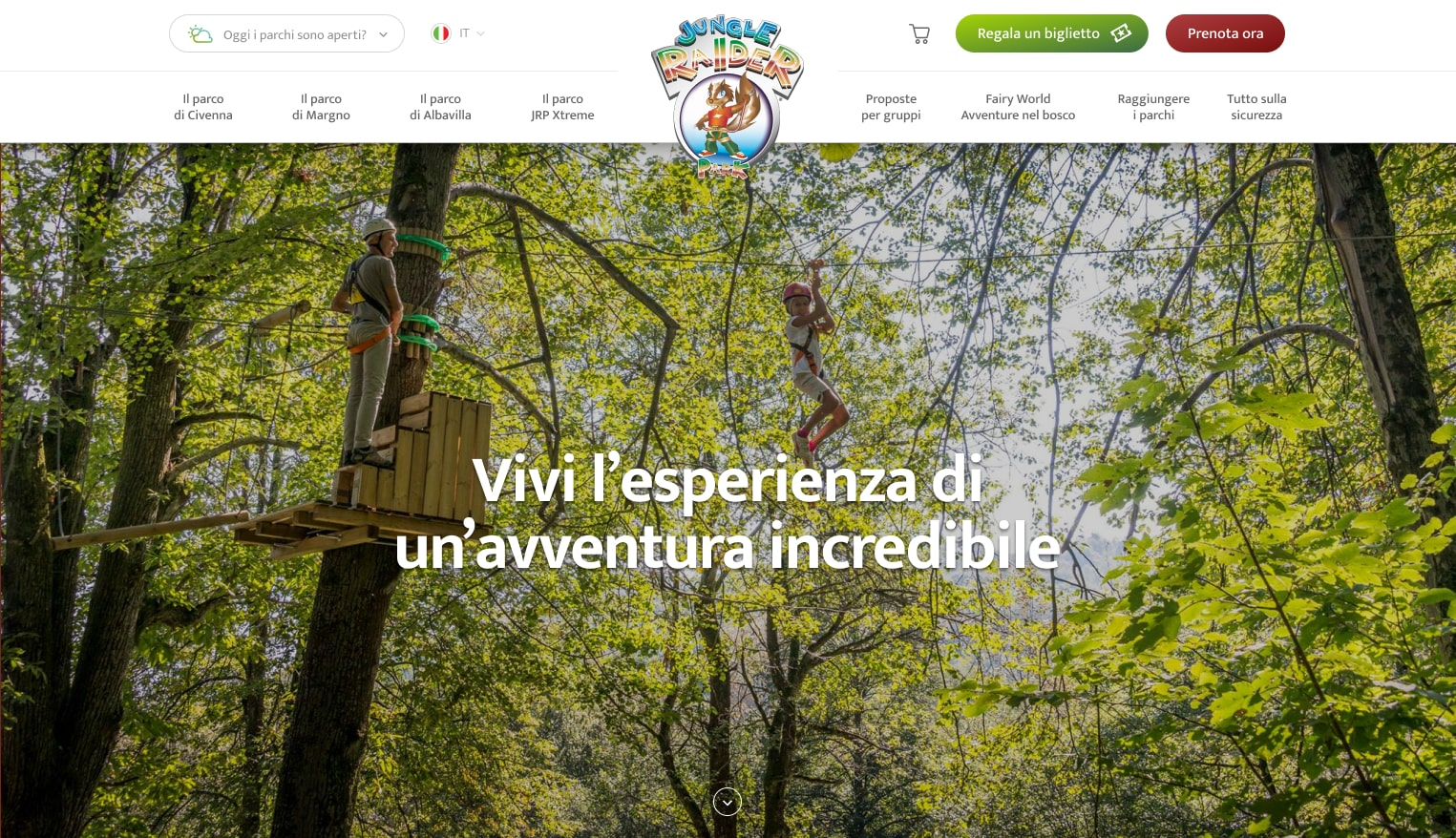 Sito web Jungle Raider Park