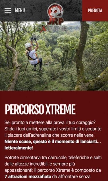 Versione responsive del sito internet Jungle Raider Park Xtreme