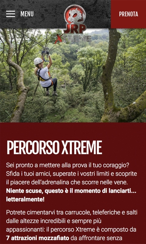 Versione responsive sito internet JRP Xtreme