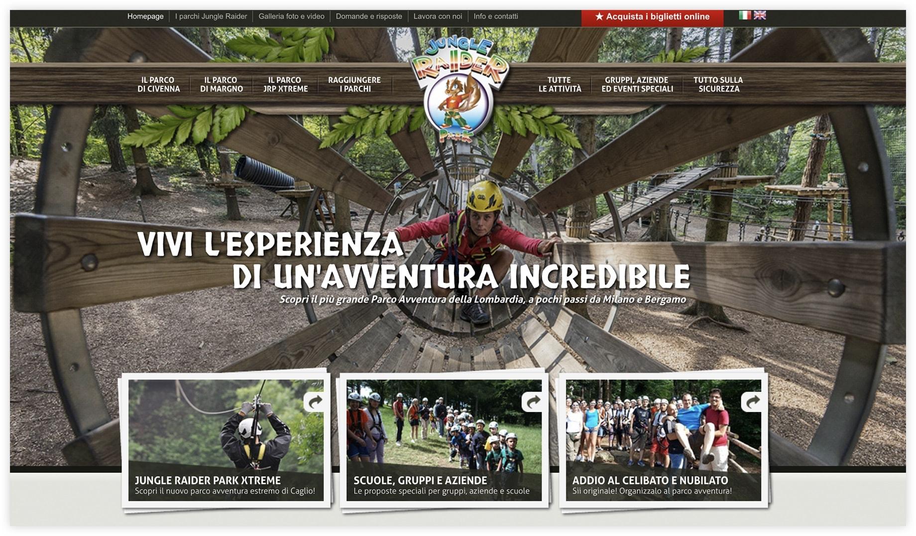 Sito web Jungle Raider Park - Lecco e Como