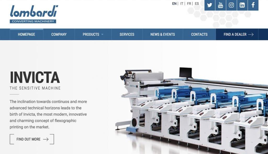 Sito web Lombardi Converting Machinery - Brescia