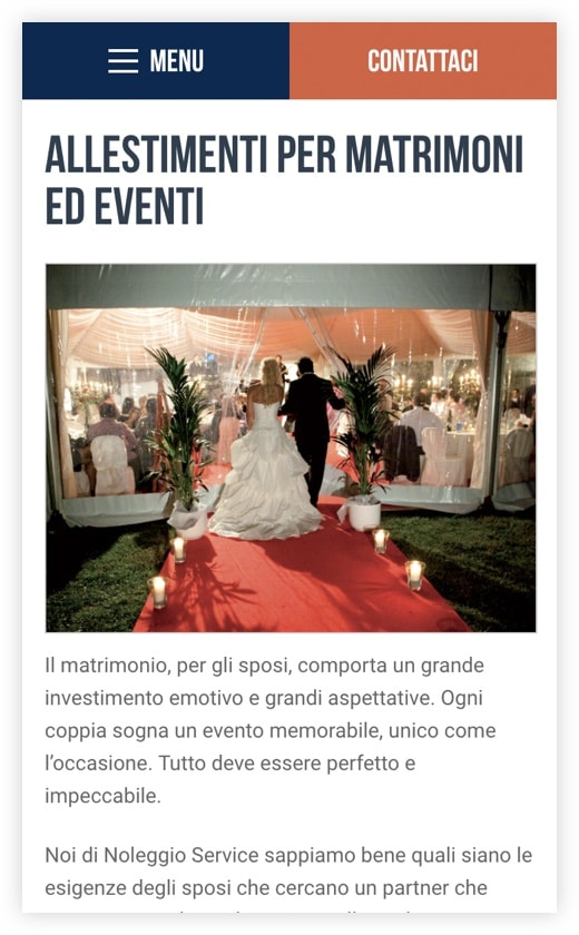 Versione responsive sito web Noleggio Service