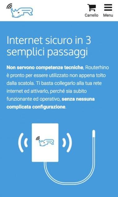Versione responsive del sito internet Routerhino