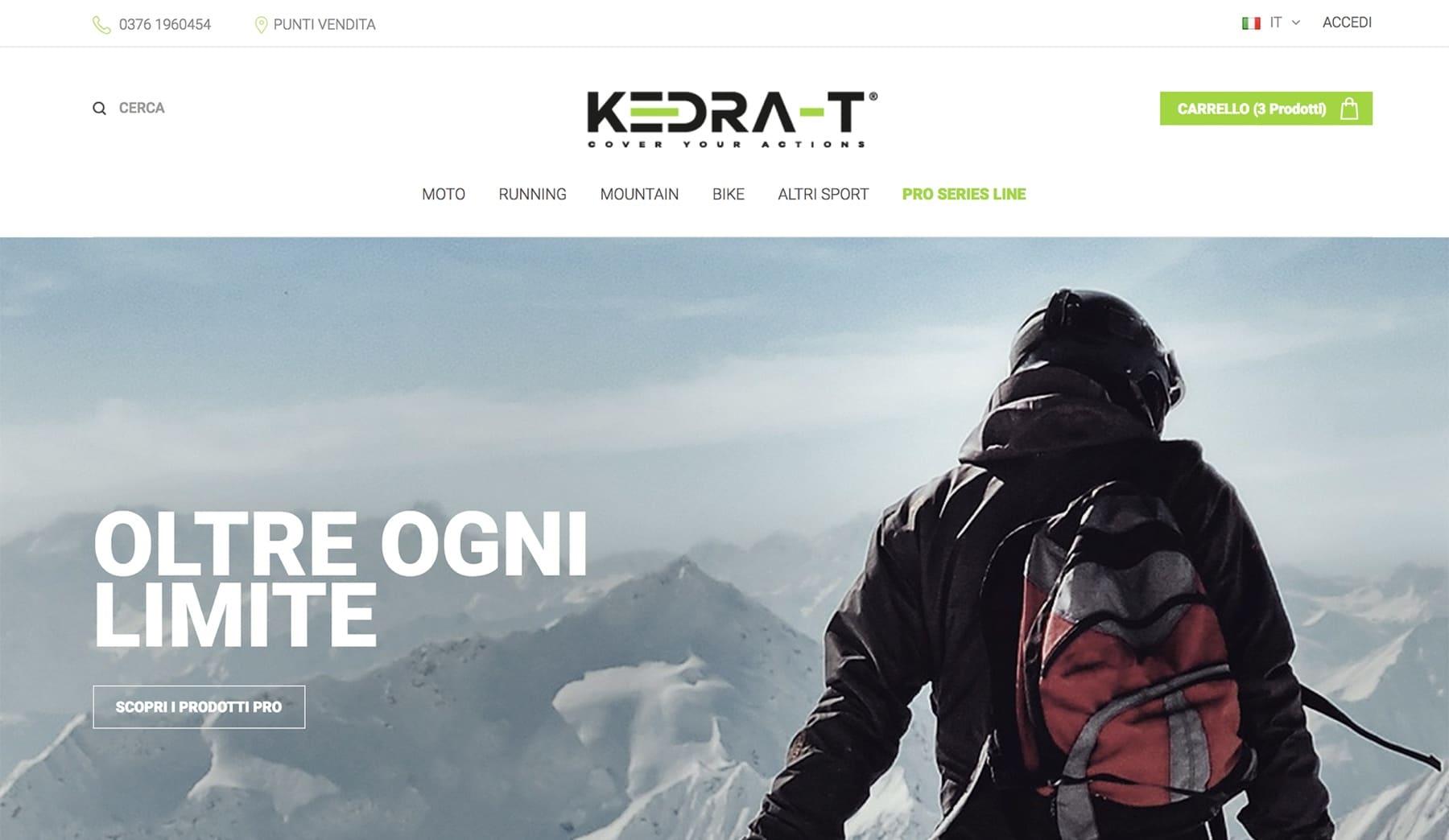 Sito web e-commerce Kedra-T
