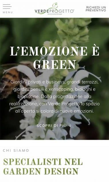 Versione responsive del sito internet Verde Progetto