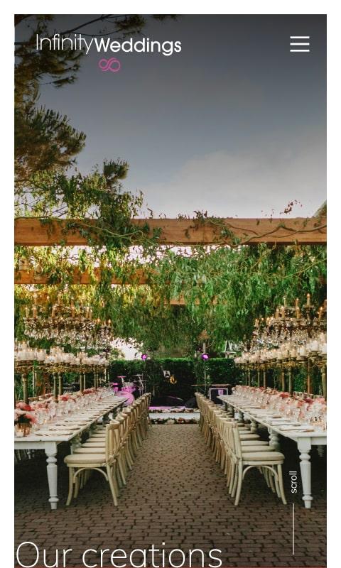 Versione responsive sito internet Infinity Weddings