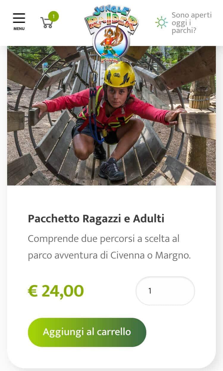 E-commerce per i biglietti del Parco Avventura JRP