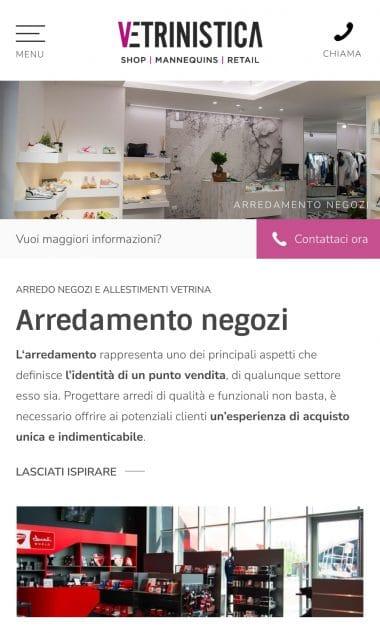 Versione responsive del sito internet Vetrinistica Studio